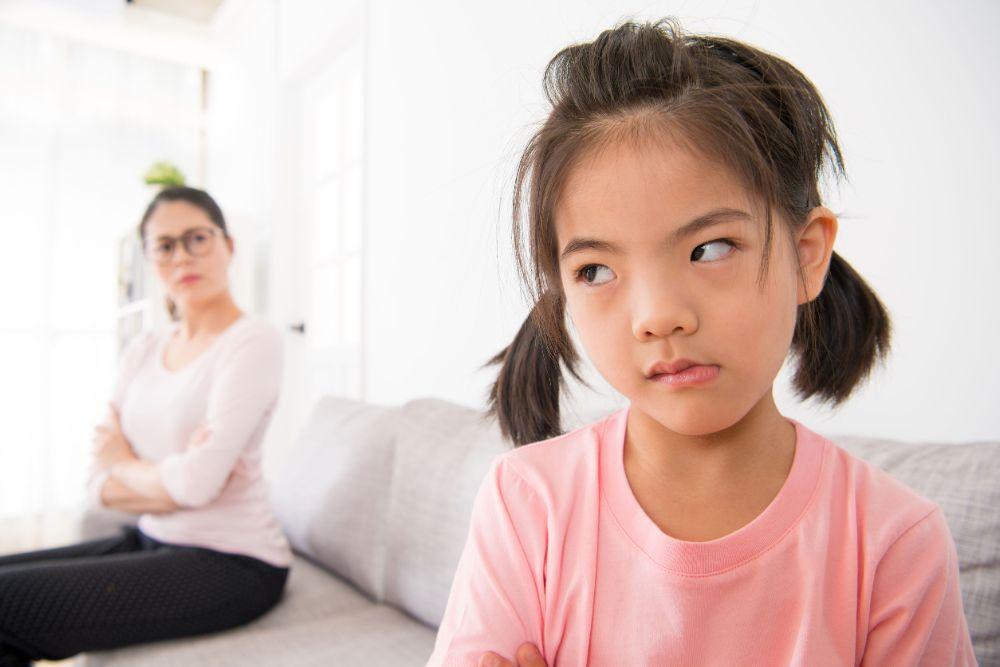 angry child saying no