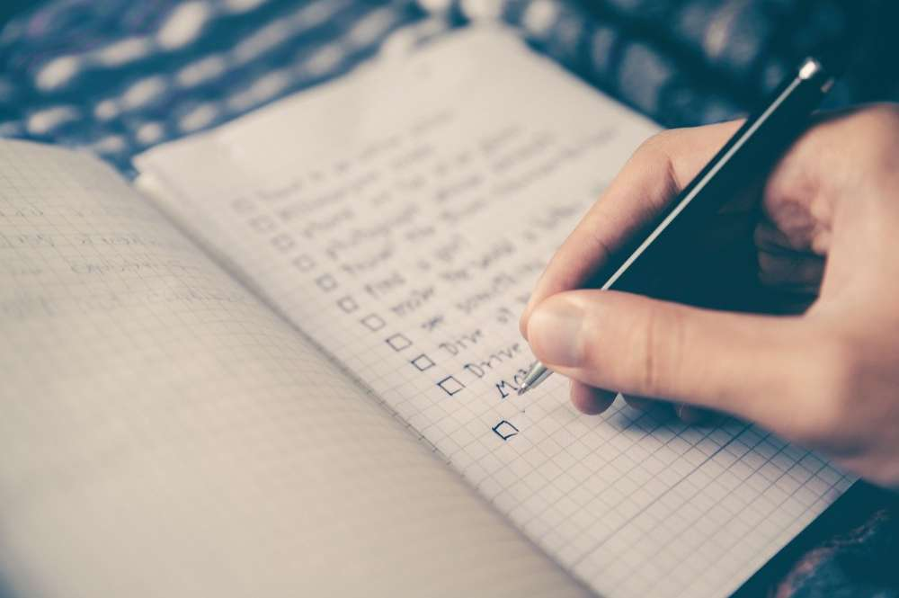 checklist goals writing plan