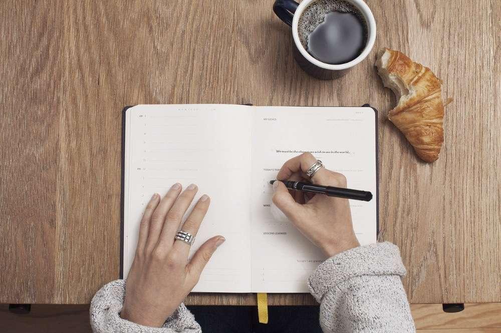 coffee writing pen notepad