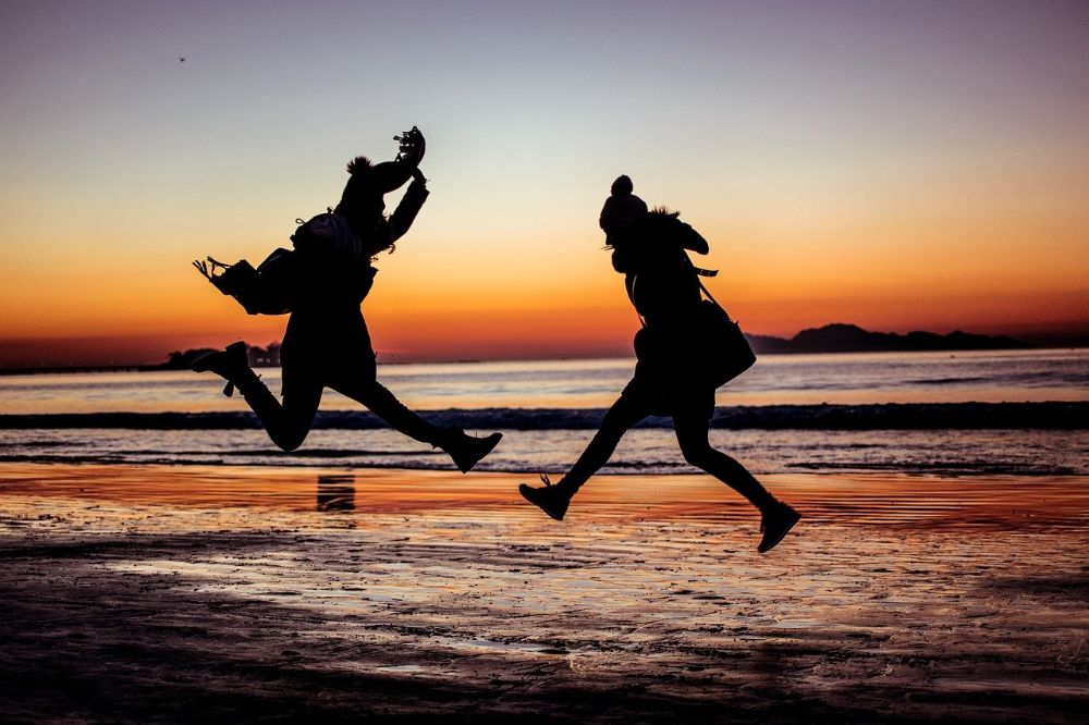 happiness joy jumping people