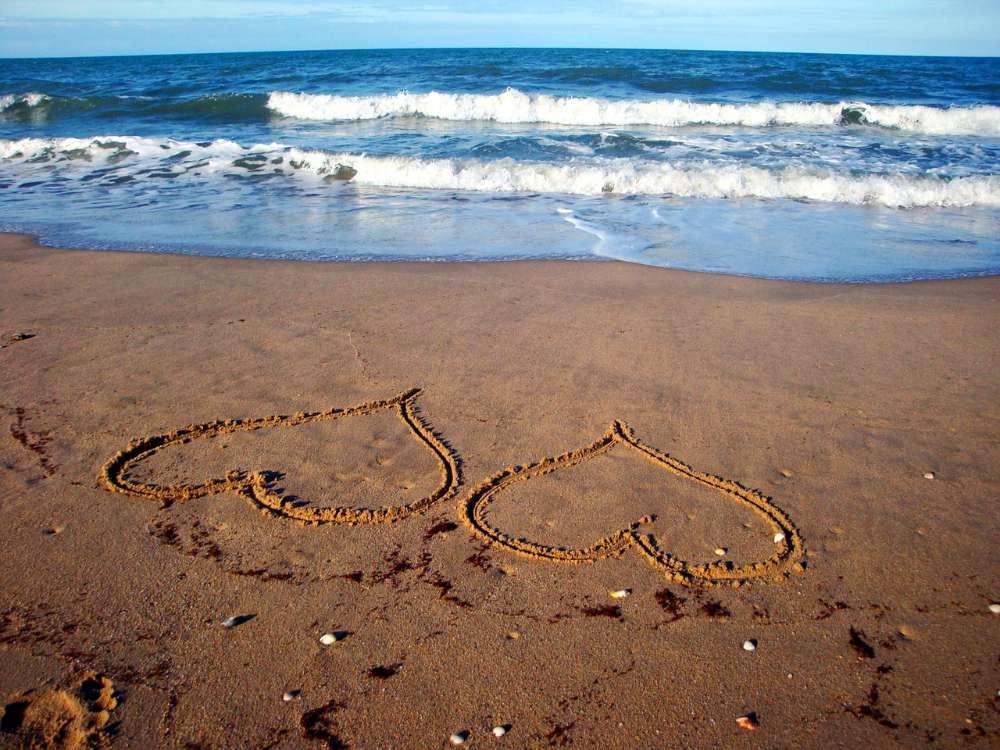 passion love heart ocean beach