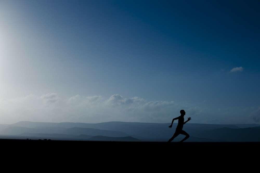 running evening landscape