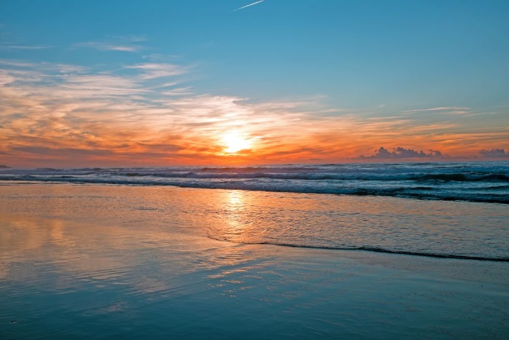 sunset beach sea ocean