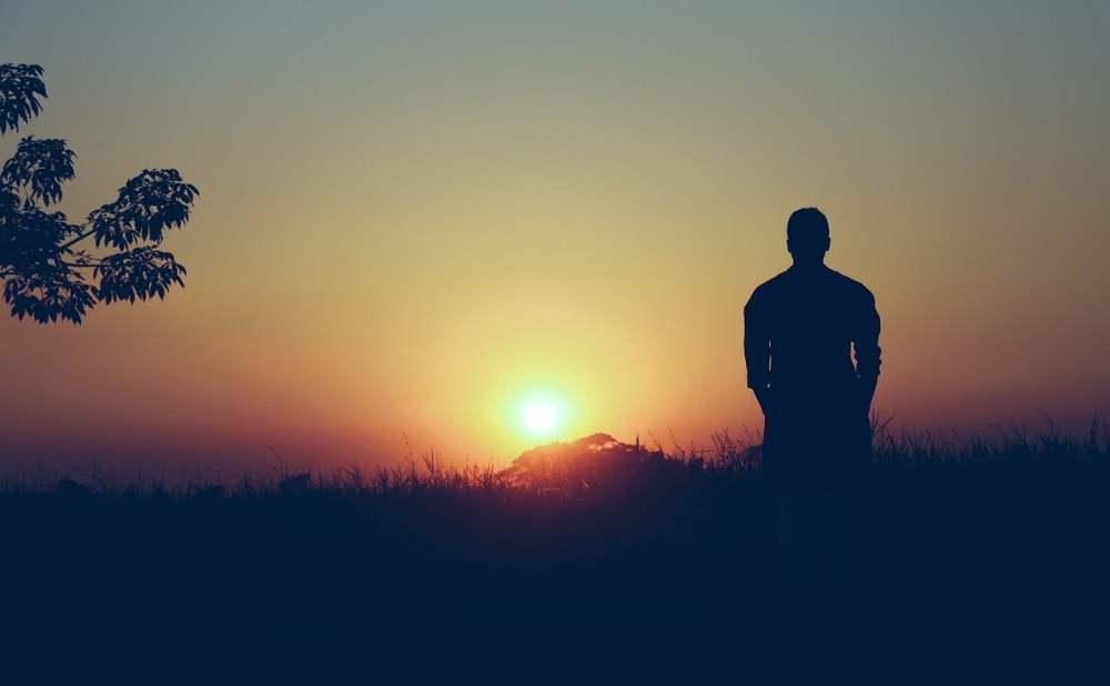 sunset man landscape